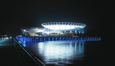 EXPO O2 - Neuchatel, view night - Photograph by Yves André